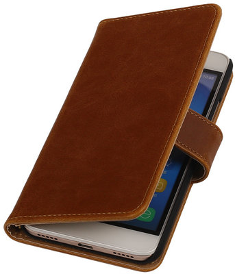 Bruin Pull-Up PU Hoesje voor Huawei Honor Y6 / 4A Booktype Wallet Cover
