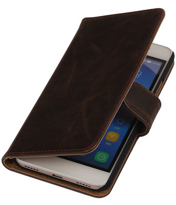 Mocca Pull-Up PU Hoesje voor Huawei Honor Y6 Booktype Wallet Cover