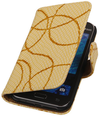 Geel Basketbal Hoesje voor Samsung Galaxy J1 2015 Booktype Wallet Cover