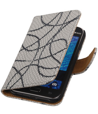 Grijs Basketbal Hoesje voor Samsung Galaxy J1 2015 Booktype Wallet Cover