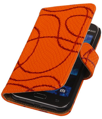 Oranje Basketbal Hoesje voor Samsung Galaxy J1 2015 Booktype Wallet Cover