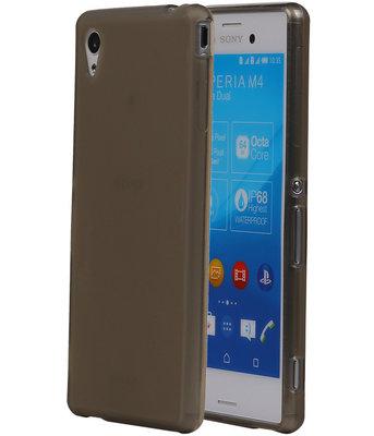 Hoesje voor Sony Xperia M4 Aqua TPU Transparant Grijs