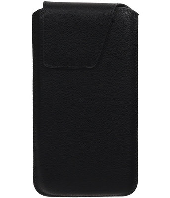 iPhone 6 Plus/6s Plus - Leder look insteekhoes/pouch Model 1 - Zwart i6P