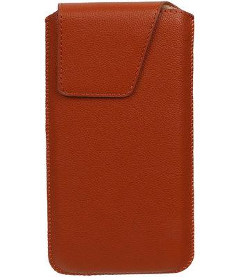 iPhone 6 Plus/6s Plus - Leder look insteekhoes/pouch Model 1 - Bruin i6P