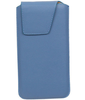iPhone 6 Plus/6s Plus - Leder look insteekhoes/pouch Model 1 - Blauw i6P