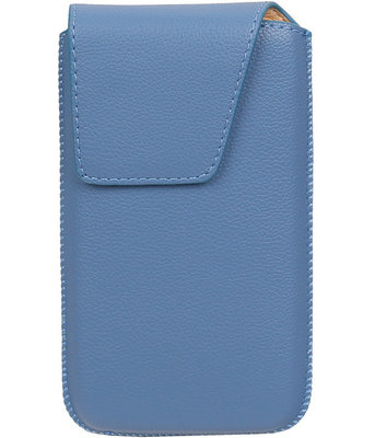 Universele Leder look insteekhoes/pouch Model 1 - Blauw Small