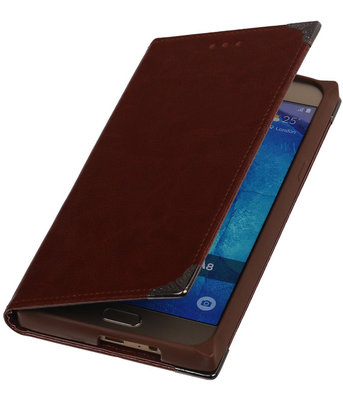 Bruin TPU Map Bookstyle Hoesje voor Samsung Galaxy A8 2015 Wallet Cover