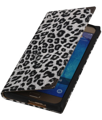 Luipaard Wit TPU Map Bookstyle Samsung Galaxy A8 2015 Wallet Cover Hoesje