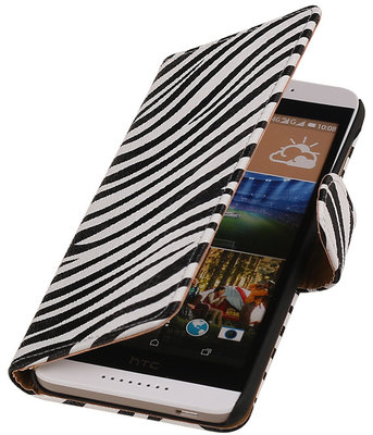 Zebra Booktype HTC Desire 626 / 628 Wallet Cover Hoesje