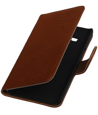 Bruin Echt Leer Booktype Hoesje voor Samsung Galaxy On5 Wallet Cover