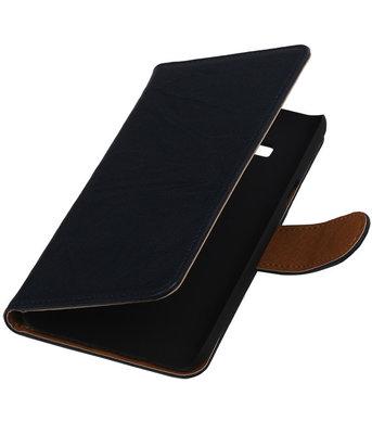 Donker Blauw Echt Leer Booktype Hoesje voor Samsung Galaxy On5 Wallet Cover