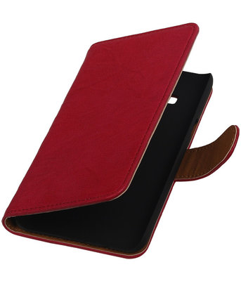 Roze Echt Leer Booktype Hoesje voor Samsung Galaxy On5 Wallet Cover
