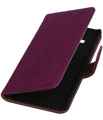 Paars Echt Leer Booktype Hoesje voor Samsung Galaxy On5 Wallet Cover