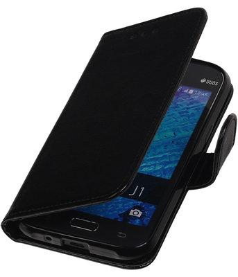 Zwart Smartphone TPU Booktype Samsung Galaxy J1 2015 Wallet Cover Hoesje