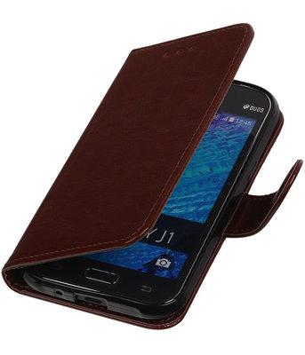 Bruin Smartphone TPU Booktype Samsung Galaxy J1 2015 Wallet Cover Hoesje