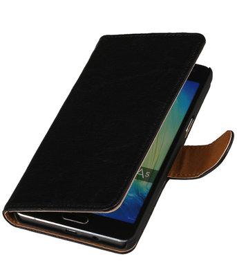 Zwart Echt Leer Booktype Samsung Galaxy J1 2015 Wallet Cover Hoesje
