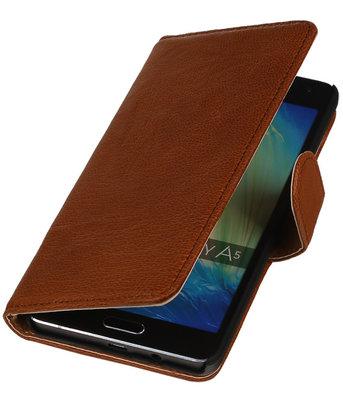 Bruin Echt Leer Booktype Samsung Galaxy J1 2015 Wallet Cover Hoesje