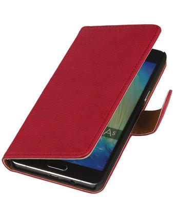 Roze Echt Leer Booktype Samsung Galaxy J1 2015 Wallet Cover Hoesje