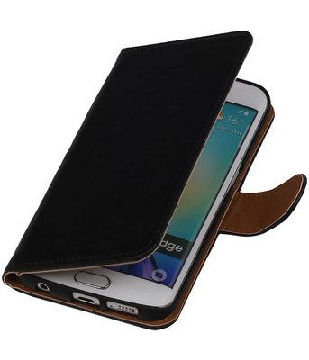 Zwart Echt Leer Booktype Hoesje voor Samsung Galaxy S6 Edge Wallet Cover
