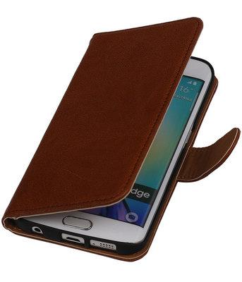 Bruin Echt Leer Booktype Hoesje voor Samsung Galaxy S6 Edge Wallet Cover