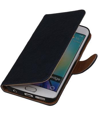 Donker Blauw Echt Leer Booktype Hoesje voor Samsung Galaxy S6 Edge Wallet Cover