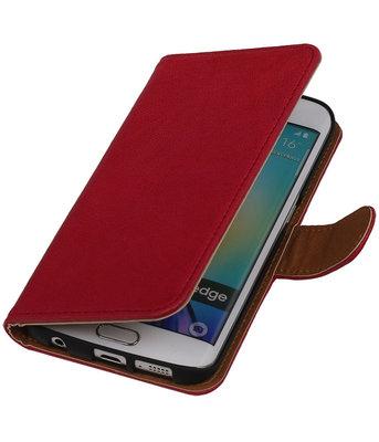 Roze Echt Leer Booktype Hoesje voor Samsung Galaxy S6 Edge Wallet Cover
