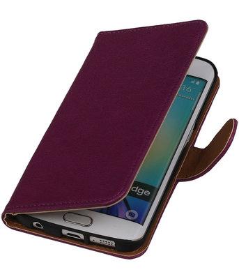 Paars Echt Leer Booktype Hoesje voor Samsung Galaxy S6 Edge Wallet Cover