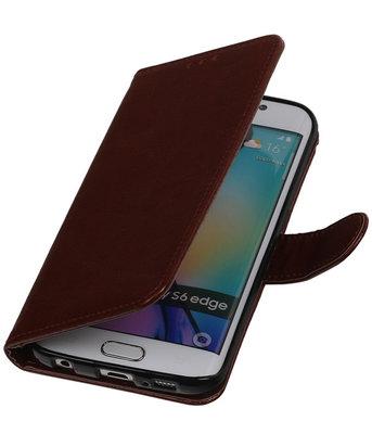 Bruin Smartphone TPU Booktype Hoesje voor Samsung Galaxy S6 Edge Wallet Cover