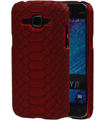 Rood Slang Hardcase Backcover Samsung Galaxy J1 2015 Hoesje