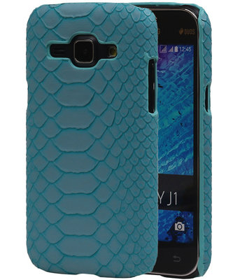 Blauw Slang Hardcase Backcover Samsung Galaxy J1 2015 Hoesje