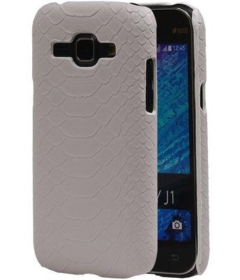 Wit Slang Hardcase Backcover Samsung Galaxy J1 2015 Hoesje
