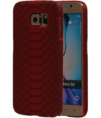 Rood Slang Hardcase Backcover Samsung Galaxy S6 Hoesje