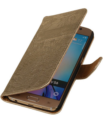 Samsung Galaxy J5 2015 Lace Kant Booktype Wallet Hoesje Goud