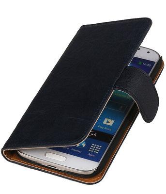 BestCases Navy Blue Echt Leer Booktype Samsung Galaxy S Duos S7562