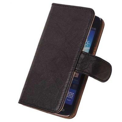 BestCases Zwart Echt Leer Booktype Hoesje voor Samsung Galaxy S Duos S7562
