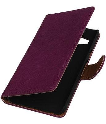 Paars Echt Leer Booktype LG Nexus 5X Wallet Cover Hoesje