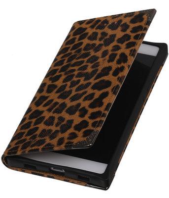 Luipaard TPU Map Bookstyle Hoesje voor Huawei P8 Wallet Cover