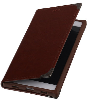 Bruin TPU Map Bookstyle Hoesje voor Huawei P8 Wallet Cover