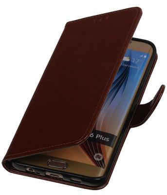 Bruin Smartphone TPU Booktype Hoesje voor Samsung Galaxy S6 Edge Plus Wallet Cover