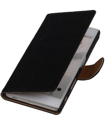 Zwart Echt Leer Booktype Hoesje voor Sony Experia Z5 Wallet Cover