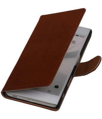 Bruin Echt Leer Booktype Sony Experia Z5 Wallet Cover Hoesje