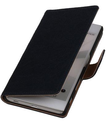 Donker Blauw Echt Leer Booktype Hoesje voor Sony Experia Z5 Wallet Cover