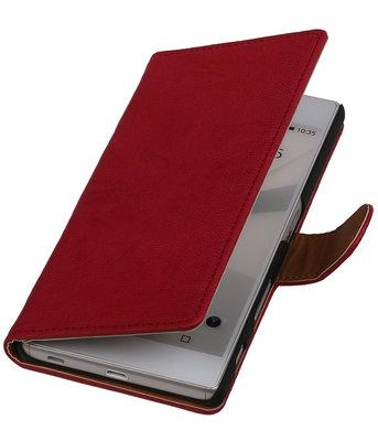 Roze Echt Leer Booktype Hoesje voor Sony Experia Z5 Wallet Cover
