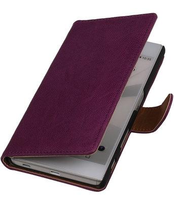 Paars Echt Leer Booktype Hoesje voor Sony Experia Z5 Wallet Cover