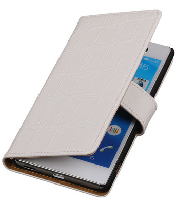 Wit Krokodil Booktype Hoesje voor Apple iPod 4 Wallet Cover