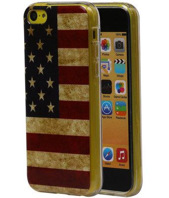 Amerikaanse Vlag TPU Cover Case voor Hoesje voor Apple iPhone 5C