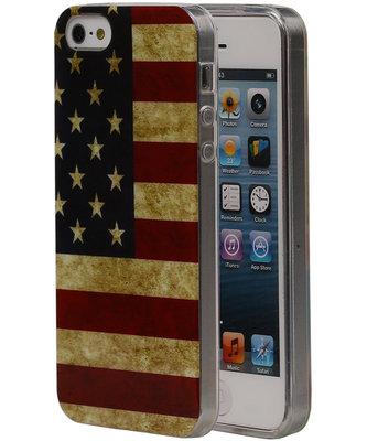 Amerikaanse Vlag TPU Cover Case voor de Hoesje voor Apple iPhone 5/5S
