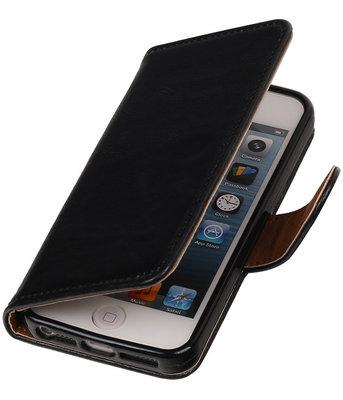 Zwart Pull-Up PU Hoesje voor Apple iPhone 5/5s Booktype Wallet Cover