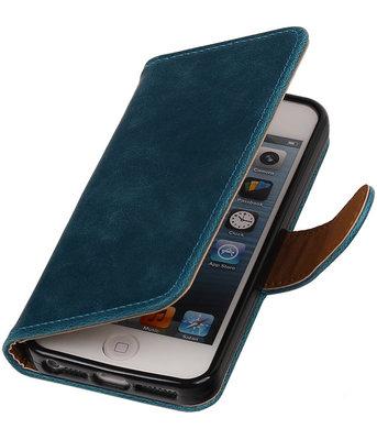 Blauw Pull-Up PU Hoesje voor Apple iPhone 5/5s Booktype Wallet Cover