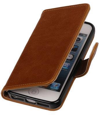 Bruin Pull-Up PU Hoesje voor Apple iPhone 5/5s Booktype Wallet Cover